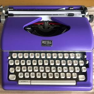 typewriter, purple,