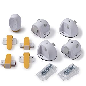magnetic lock, key, adhesive, cabinet, drawers, invisible lock, locking indicator