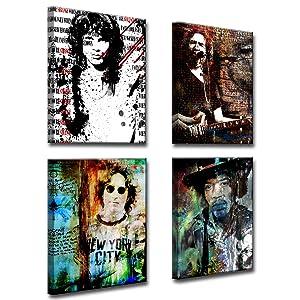 im Morrison, Jerry Garcia, John Lennon and Jimmy Hendrix Canvas Wall Art