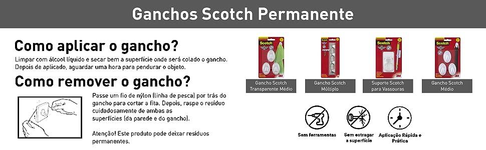 gancho, scotch, aplicação, remoção