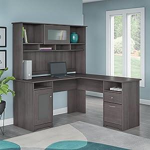 Amazon Com Bush Furniture Cabot Corner Desk With Hutch