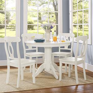 Dorel Living Aubrey 5 Piece Dining Set Pedestal Table