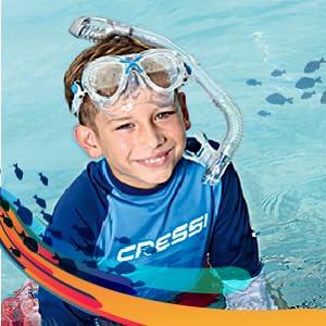 DM1000076 Cressi MAREA JR /& MINI DRY Youth Kids Snorkeling Mask and Dry Snorkel Cressi: Italian Quality since 1946 yellow Cressi U.S.A