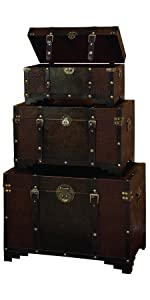 Deco 79 39408 Classic Old Time Leather N Wood Chest Trunk
