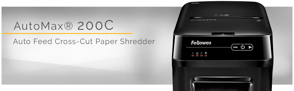 Fellowes AutoMax 200C 200-Sheet Cross-Cut Auto Feed Shredder, for  Hands-Free Shredding (4653501)