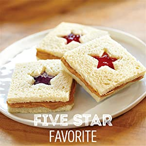 Smucker's Strawberry Jam, Grape Jelly and Jif Peanut Butter on bread with stars cut out of center