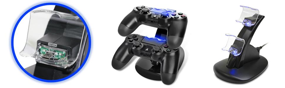 Amazon.com: Dual Cargador de Estación de carga para PS4/PS3 ...