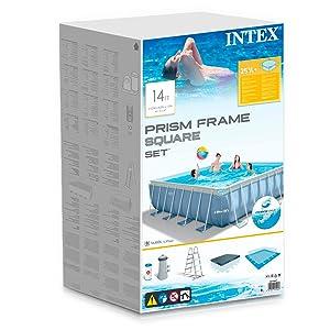 piscina sobre suelo, piscina cuadrada, piscina Intex, piscina desmontable y estructura metálica