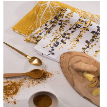 Clarissa Hulse Yellow Fynbos Cotton Tea Towel, 2 Pack