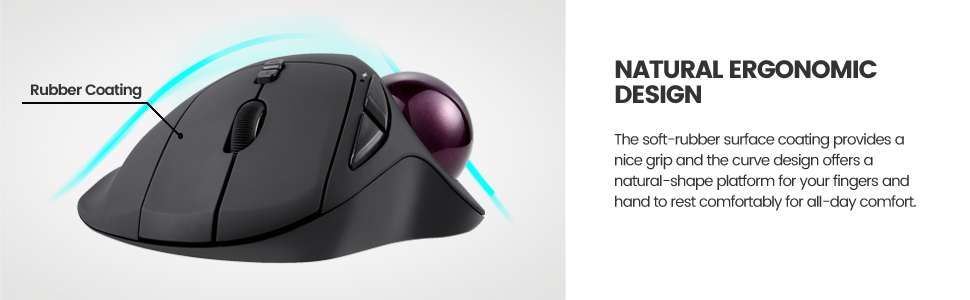 ergonomic trackball mouse curved design natural shape for rsi carpal tunnel