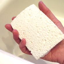 A hand holding a sponge.