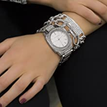 steve madden watch bracelet gift set rhinestone fashion women men teens sparkle layered bling jewel