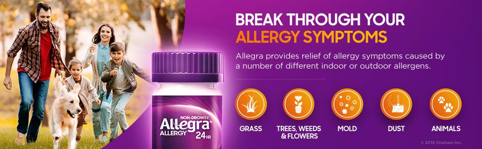Allegra Non-Drowsy Helps Provides Allergy Symptom Relief of Indoor & Outdoor Allergies