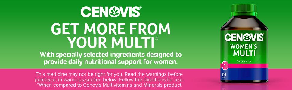 Cenovis; Cenovis multivitamins; Cenovis multivitamin for women; Cenovis mineral supplements