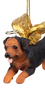 Design Toscano Honor the Pooch: Rottweiler Holiday Dog Angel Ornament