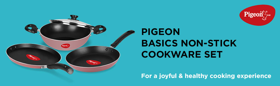 Pigeon Basics Aluminium Nonstick Cookware Set, Set of 3 (With one lid), Pink
