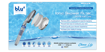 shower filter, blu shower filter, hair loss, hair, skin, skin care, blue shower filter