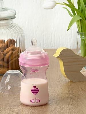 Chicco NaturalFeeling - Biberón con tetina especial para lactancia mixta, flujo rápido, 330 ml, 6 m+, rosa