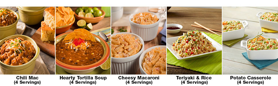 Chli mac, hearty tortilla soup, mac and cheese, teriyaki rice, potatoe casserole