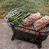 Lodge Cast Iron Sportsman's Grill. Large Charcoal Hibachi-Style Grill for Picnics, Tailgaiting, Camping or Patio. Two Adjustable Heights.