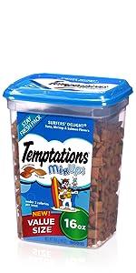 Temptations Mixups Cat Treats, Multipack, Cat Treat Tub, Resealable, Reusable, Bulk