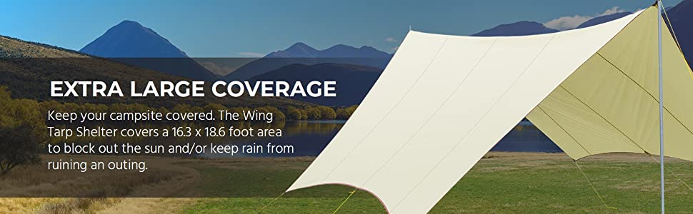 Extra large coverage, covers 16.3x18.6 foot area to block out the sun and keep rain from ruining