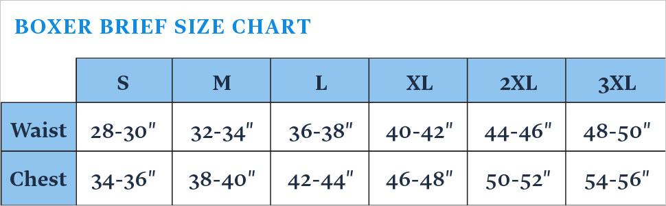 Mens Underwear Size Chart