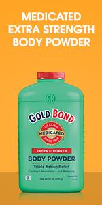 Body powder green bottle.