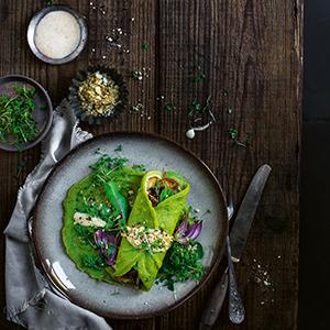 Aromenfeuerwerk vegetarisch Spinat-Crepe