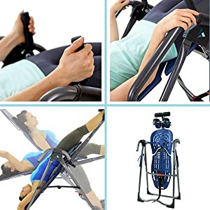 Teeter inversion table, accessories, foldable