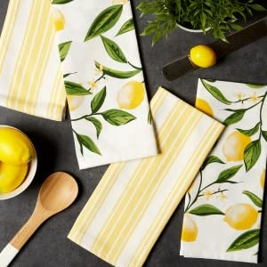 lemon dish towels, gin and tonic towel, dii easter kitchen towels, bliss towel, floral towel