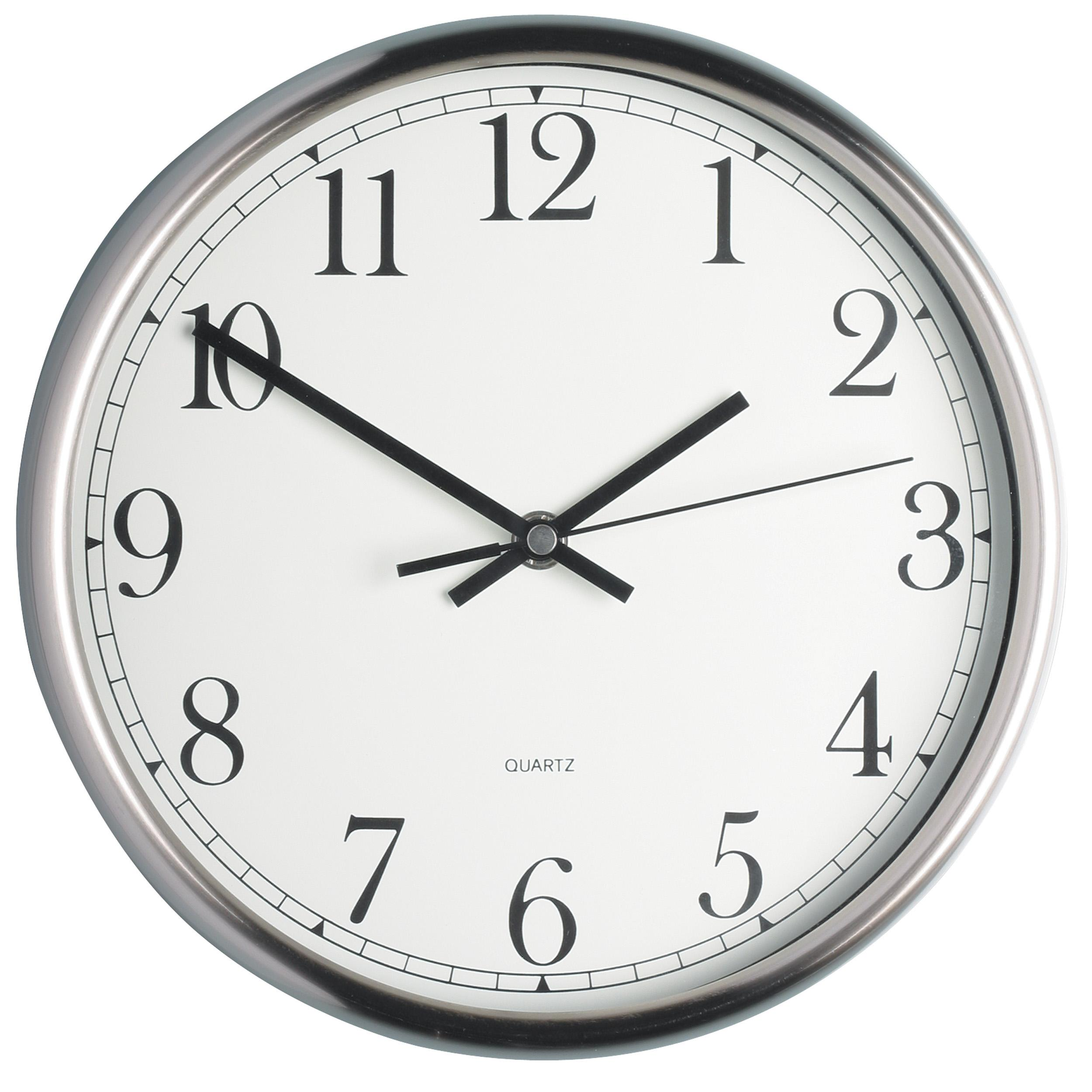 KitchenCraft Stainless Steel Kitchen Wall Clock, 25 cm (9