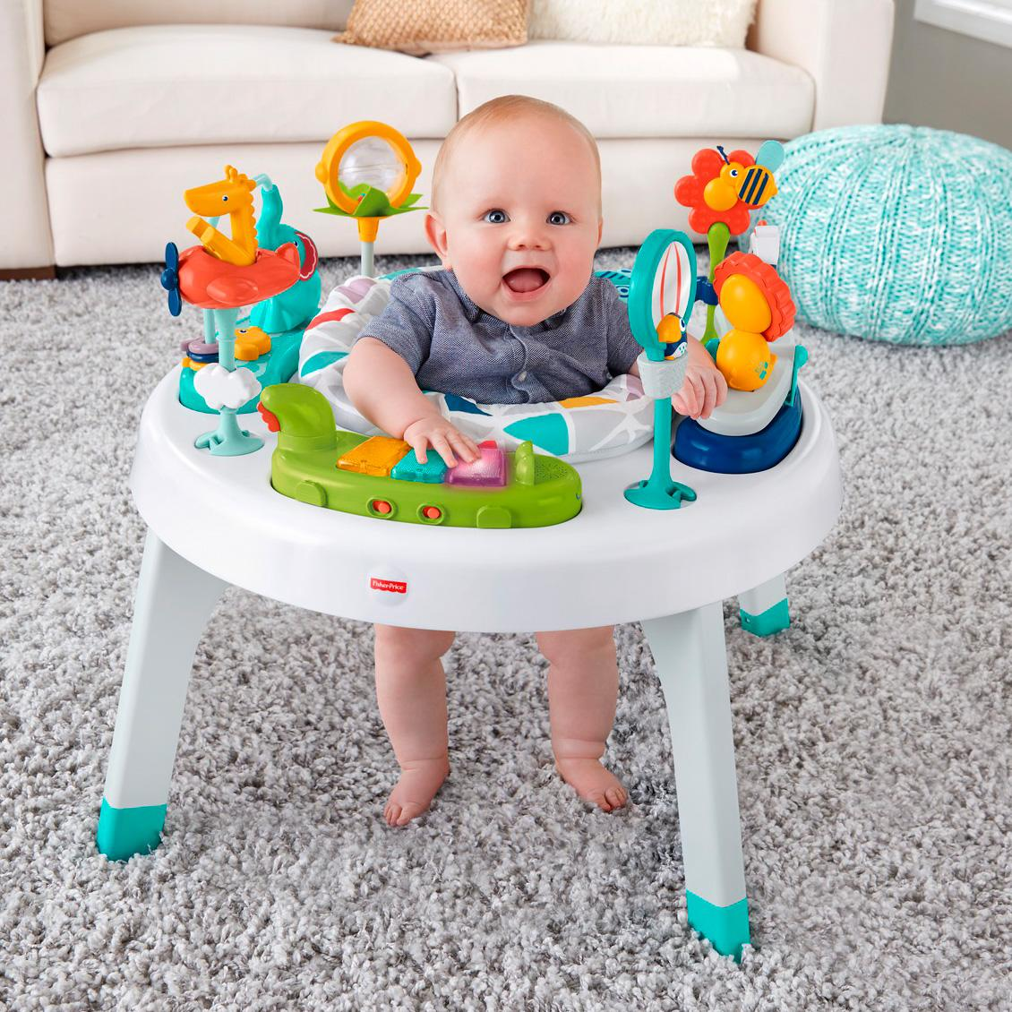 Fisher price 2 in 1 sit to stand activity center spin 39 n play safari baby - Table activite fisher price ...