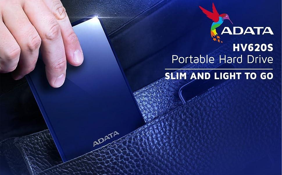 """ADATA HV620S 1TB Slim Portable  External Hard Drive, Blue"" SPN-FOR1"