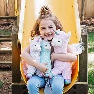 happy anf fun llamacorns unicorns slide little girl trendy gift sparkle rainbow stuffed animal plush
