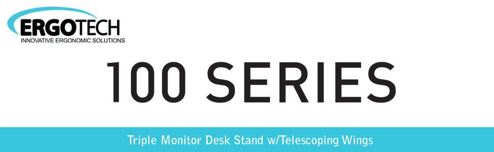 Ergotech Triple Monitor Desk Stand with Telescoping Wings