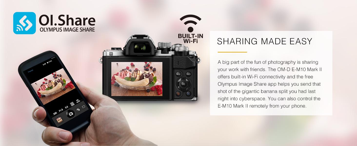 OM-D E-M10 Mark II sharing made easy built-in wi-fi wifi