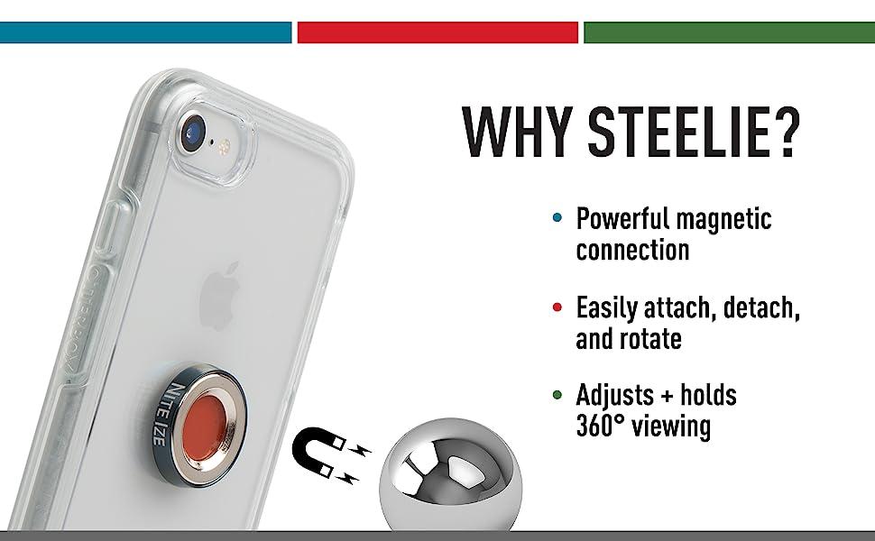 Low Profile Portable Magnetic Car Vent Mount for Smartphones STOVK-01-R8 Nite Ize Steelie Orbiter Vent Kit