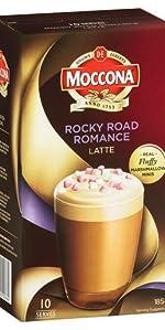 Moccona coffee, moccona mixes, latte, moccona latte rocky road, sachet, sachets, coffee sachets