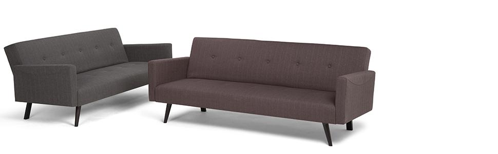 Simpli Home AXCSOF-04-GG Morgan Transitional 77 inch Wide Sofa Bed in Graphite Grey Linen Look Fabric