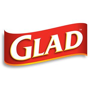 Glad logo banner trash can plastic bag waste bin
