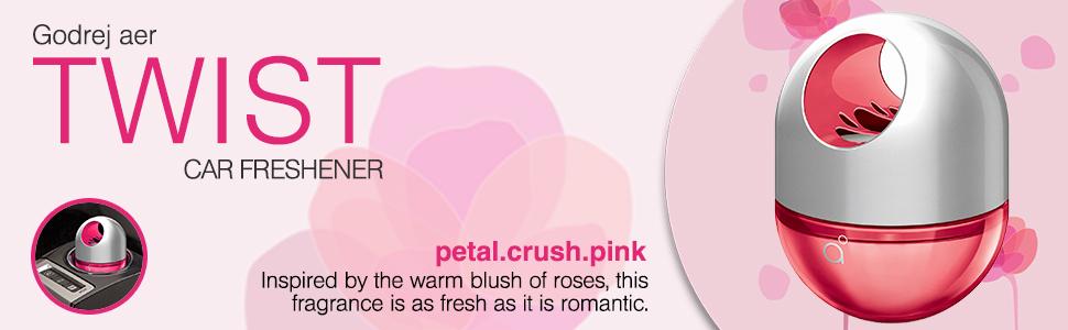 godrej aer twist petal crush pink car dashboard freshener