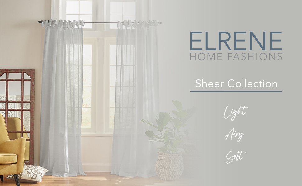 Elrene Home Fashions Sheer Window Panel Curtain Collection
