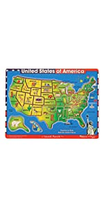 Usa Map Puzzle With Sound eeboo united states usa map puzzle for