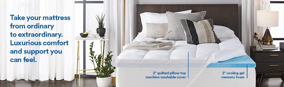 4 memory foam mattress topper, queen pillow top mattress pad