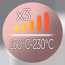 3 ısı ayarı, 150°C - 230°C