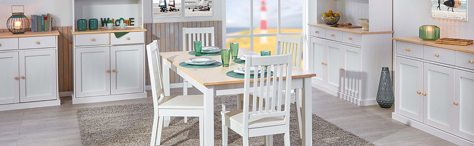 Inter Link Durable Dining Room Chair In Timeless Country House Style Set Of 2 Solid Beech Wood White Dining Room Kitchen Amazon De Kuche Haushalt