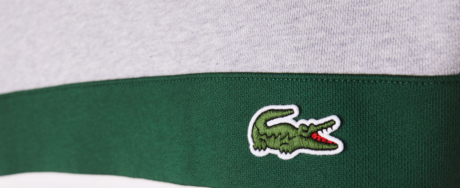 Lacoste beige green sweatshirt with embroidered crocodile detail on the chest