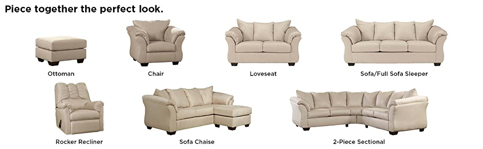 Superb Signature Design By Ashley Darcy Microfiber Loveseat Stone Ncnpc Chair Design For Home Ncnpcorg
