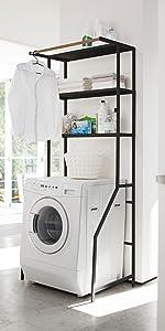 山崎実業 洗濯機収納 ハンガーバー付き ランドリーラック ランドリーシェルフ タワー ブラック 約W75XD48XH19 3606